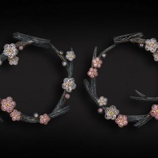 Pink Diamond Blossom Earrings