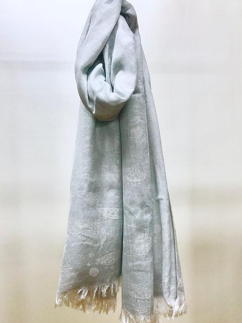 cotton&silkジャガード織テントウムシ柄全幅ストール