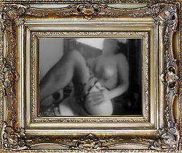 Antique frame with a black and white selfie image in the middle