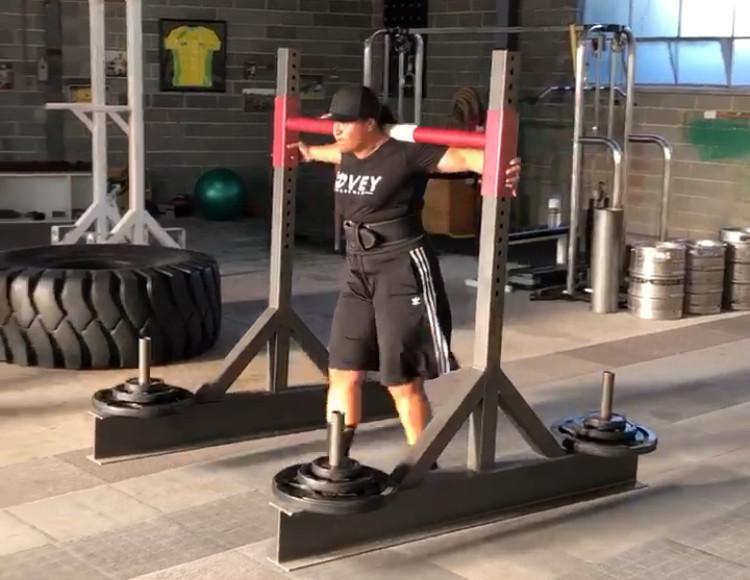 Joe Kimitaunga training with the Yoke