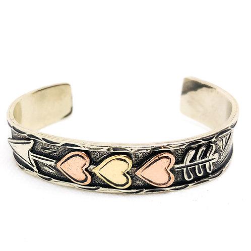 Heart Arrow Silver Cuff