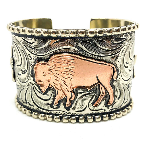 Buffalo Silver & Copper Cuff with Turquoise Detail