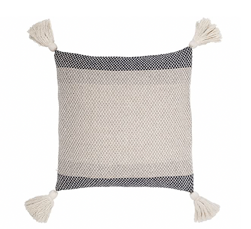 Blue Pillow with Tassels