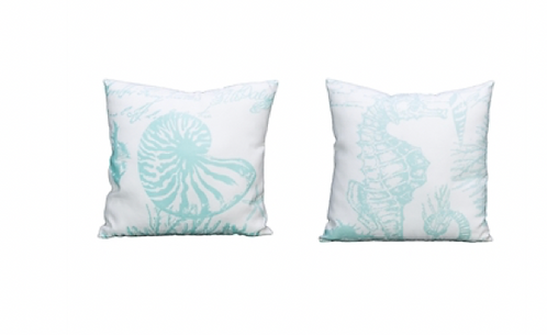 Aqua & White Shells Pillow