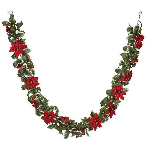Red Poinsettia Garland
