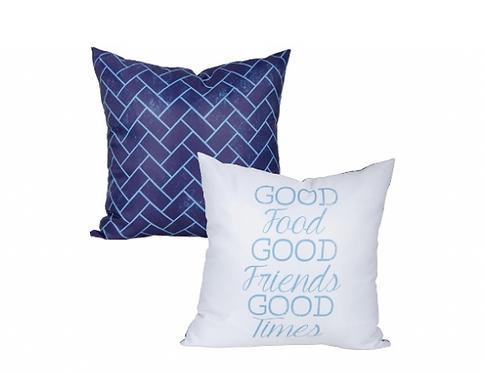 Good Food, Good Friends, Good Times Pillow