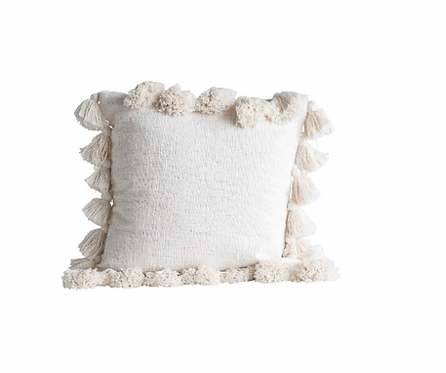 Square Cotton with Tassels Pillow