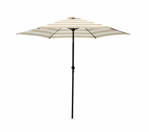 Beach Umbrella - Tan & White Stripe