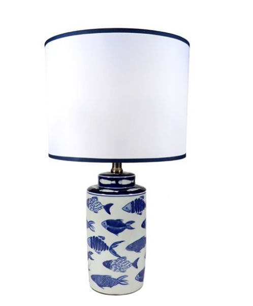 White Lamp with Blue Fish