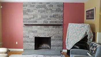 custom fireplace masonry, after