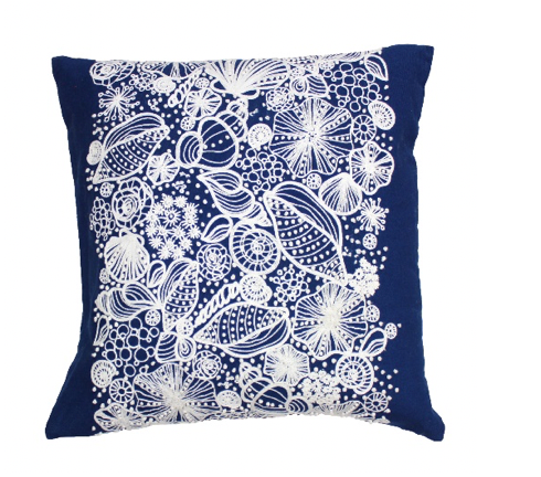 Blue Shell Embroidered Pillow