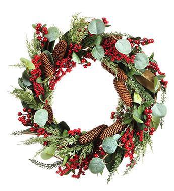 Eucalyptus/Red Berry Wreath