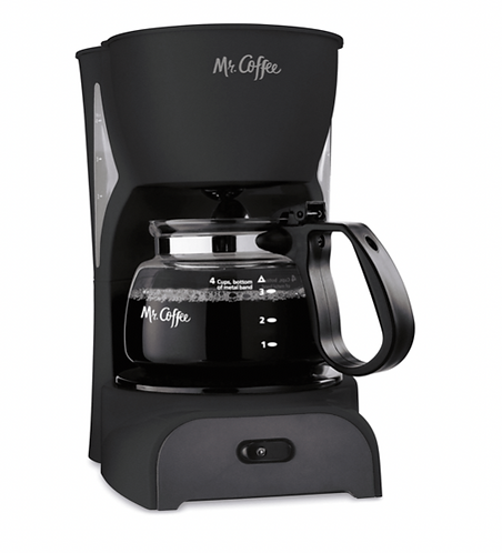 4 Cup Coffee Maker, Black