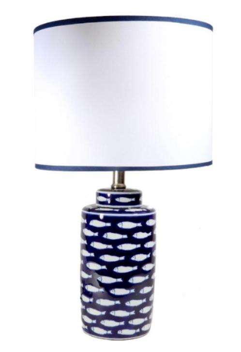 Dark Blue Lamp with White Fish
