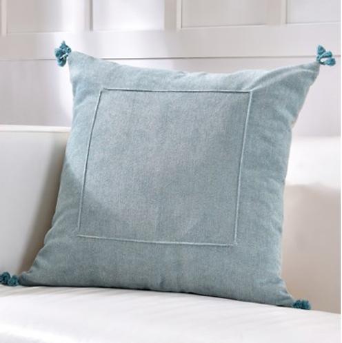 Blue Velvet Pillow withTassels