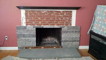 custom fireplace masonry, before