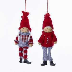 KNITTED BOY OR GIRL ORNAMENT (EACH)