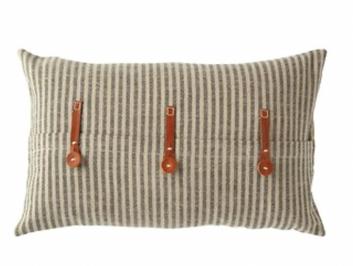 Beige and Black Pillow with Leather Straps