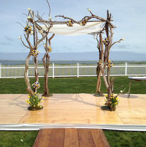 Natural driftwood wedding altar