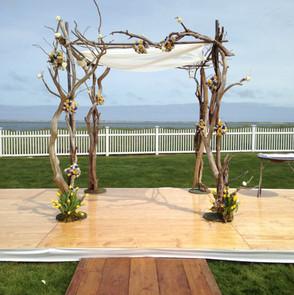 Natural driftwood wedding altar