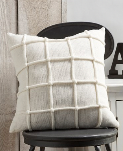 White Pillow with Raised Stripe