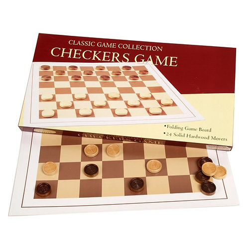 GAME CHECKERS WOOD DISC