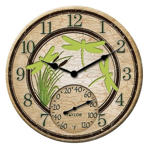 """12"""" Dragonfly Clock & Thermometer"""