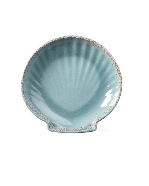 Aqua Melamine Large Scallop Dish