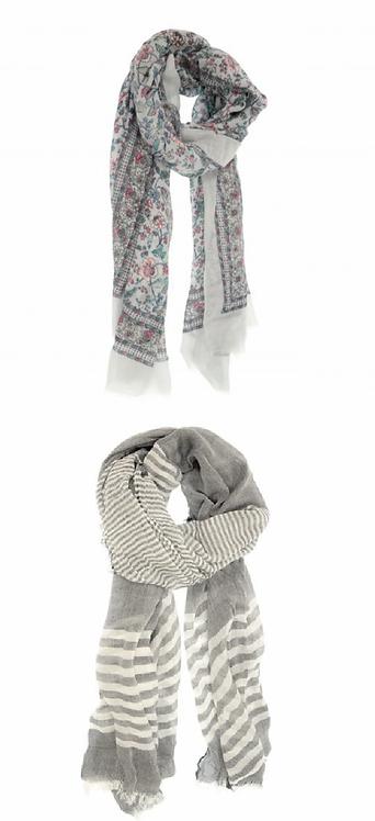 JOY SUSAN - Grey/White Sheer Stripe Scarf