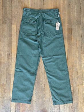Pantalon militaire Orslow coupe droite, Coton satin, Olive