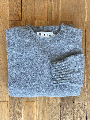 Pull en laine shetland brossé Harley of Scotland, Shaggy Dog, Gris Moyen