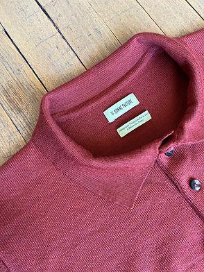 Polo tricoté, Laine mérinos, Rouille