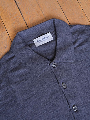John Smedley Pull col polo Cotswolden laine mérinos, Charbon