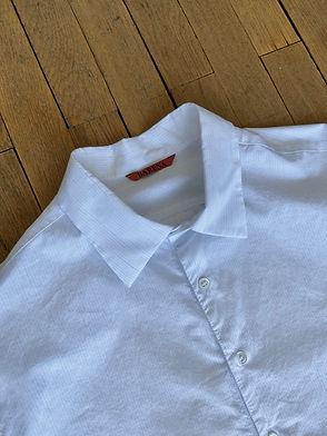 Chemise polo Barena Pavan en coton, Coupe droite, Blanche fine rayure