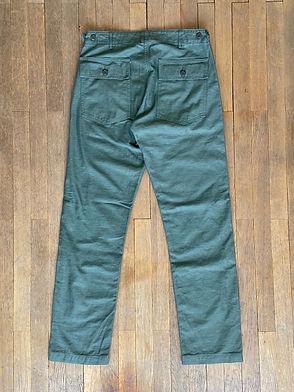 Pantalon militaire Orslow coupe slim, Coton satin, Olive