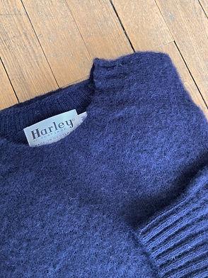 Pull en laine shetland brossé Harley of Scotland, Shaggy Dog, Nouveau Marine