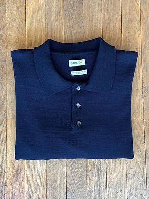 Polo tricoté, Laine mérinos, Bleu marine