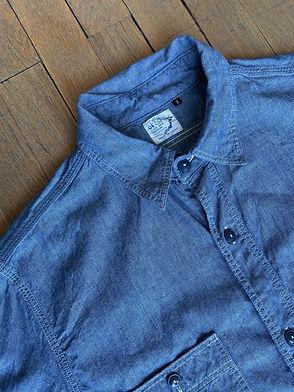 Chemise de travail Orslow coupe droite, Chambray, Bleu