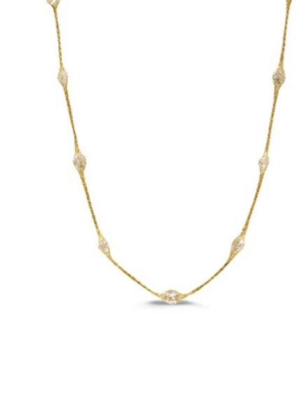 """20"""" Sterling (GP) mesh necklace with crystal"""