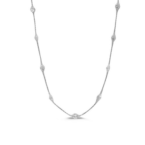 "18"" sterling silver necklace with crystal"