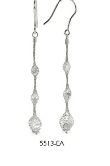 Sterling silver mesh drop earrings w/crystal