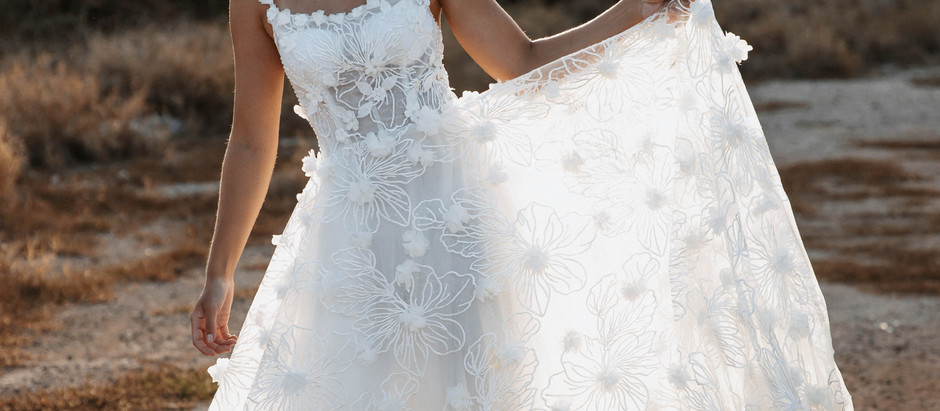 Spaghetti Strap 3D Floral Embroidered Wedding Dress