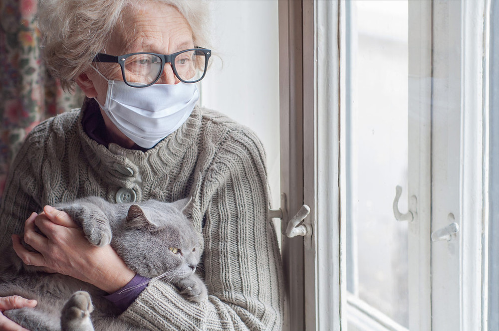 Elder woman and her cat isolated indoors.