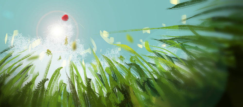 The freedom of letting go-a balloon floats away over a field of grass.