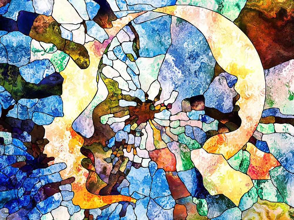 Stained-glass artwork depicting the mind changing and evolving.