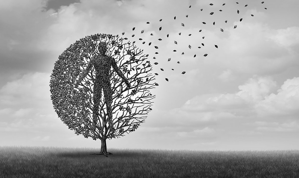 Life disipating away refelcted in illustration - human body seen in leaves of tree.