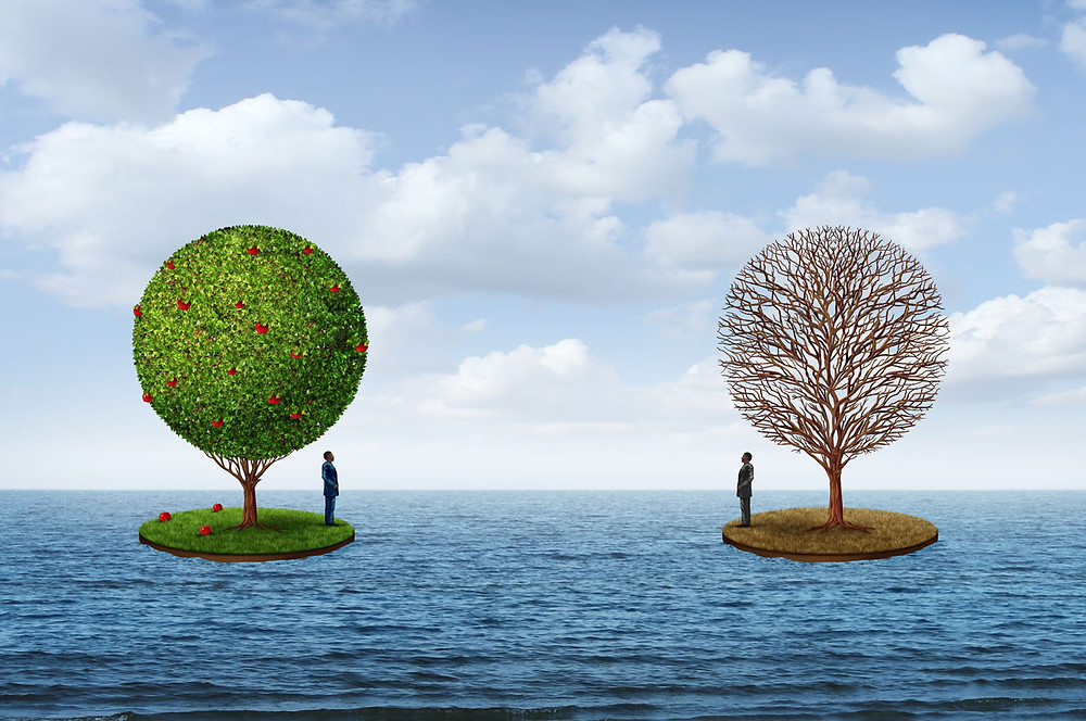 Life, death, and balance as reflected in illustration - two people on islands looking back at each other while surrounded by ocean.