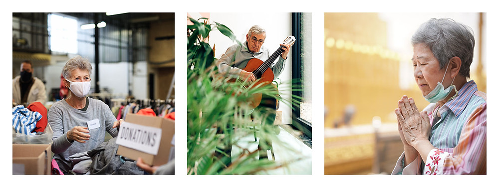 3 Images of Elders keeping active: volunteering, playing guitar, and praying at a temple.