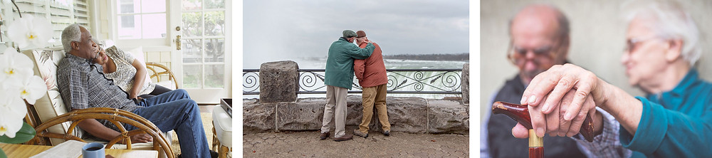 Several examples of elder couples enjoying intimate moments together.