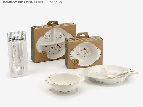 <Jaws>Bamboo Suction Dinnerware Set